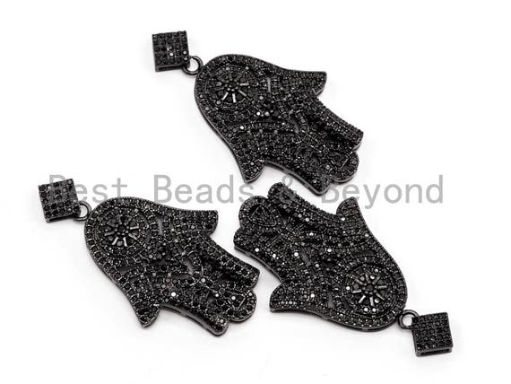 Black CZ Pave On Black Micro Pave Hamsa Hand with Flat Square Bail Pendant, 26x39mm, sku#F378
