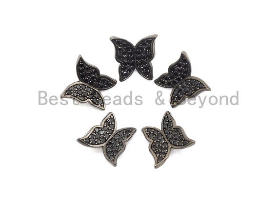Black CZ Pave On Black Micro Pave Butterfly Spacer Beads,Cubic Zirconia Beads, Fashion Jewelry Findings, Butterfly Charms, 10x10mm, sku#A95