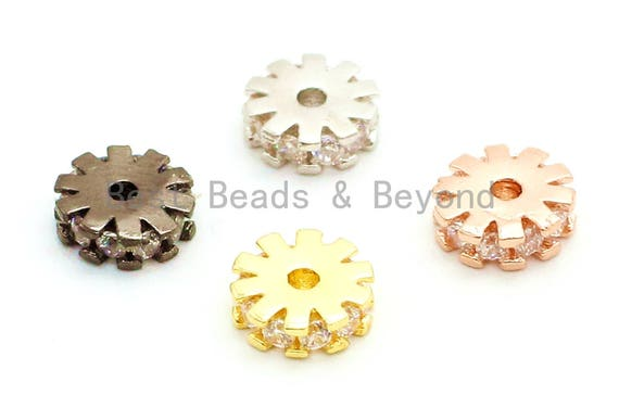 1pc/5pcs CZ Micro Pave Flower Wheel Spacer Beads, Cubic Zirconia Space pave Beads, 6x2mm/8x2mm, sku#G84
