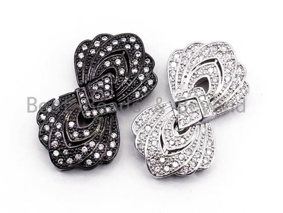 Clear CZ Micro Pave Double Flower Box Clasp, Cubic Zirconia Box Clasp, CZ Pave Tab Insert Clasp Fastener, 19X33X6mm, sku#Y64