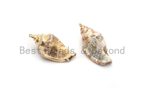 Gold Plated White Beige Conch Sea Shell Pendant, Conch Beach Shells Pendant, Shell Jewelry, 21x45mm Shell Pendant/Charm,sku#V36