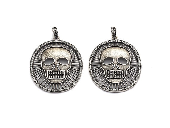 PRE-SELLING  Antique Finish CZ Micro Pave Hollow out Skull Pendant, Silver Tone, Cz Pave Round Skull Charm Pendant, 39x46mm,sku#F988