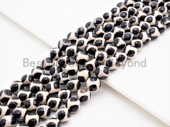 Dzi Black White Spotted Agate Round Smooth Beads, 6mm/8mm/10mm/12mm beads, Agate Gemstone Beads, 15.5inch strand, SKU#U340