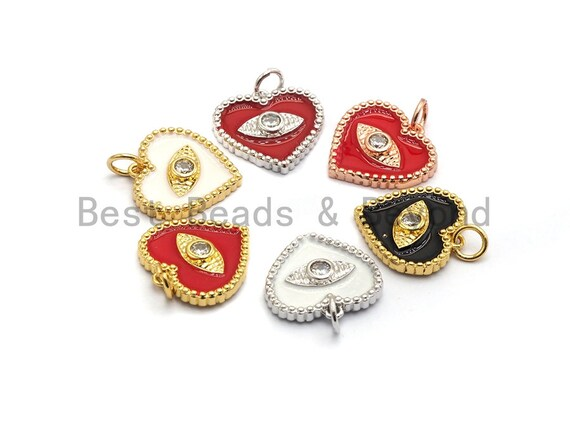 Pave CZ Enamel Heart With Evil Eye Pendant, Enamel Pendant,Enamel Heart Pendant, Oil Drop jewelry Findings,16mm,sku#Z255
