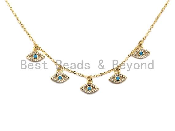 Dainty Turquoise Evil Eye Necklace, Evil Eye choker gold, Evil Eye CZ Charm Necklace, Layering Necklace, Dainty Necklace, sku#Z709