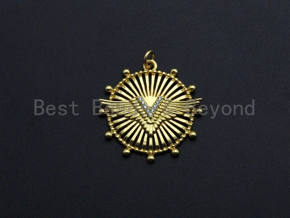 CZ Micro Pave Medallion Wing Pendant/Charm, Embossment Wing Disc Pendant, Cubic Zirconia Pendant, Gold Tone, 25x26mm, Sku#FH22