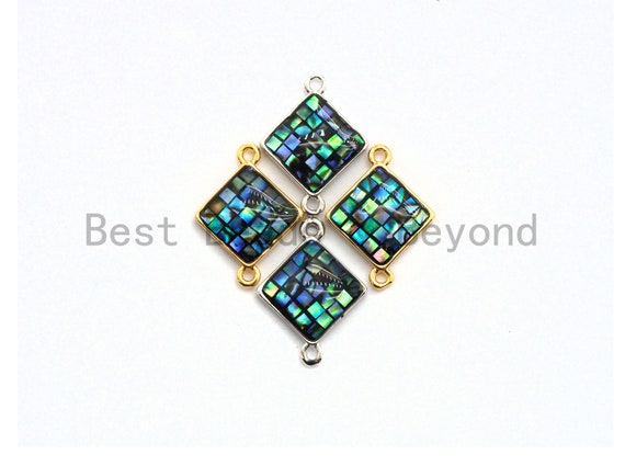 100% Natural Abalone Shell  Connector Diamond Shape with Gold/Silver Plated Edging, Abalone Shell Charm 14x18mm,SKU#Z288