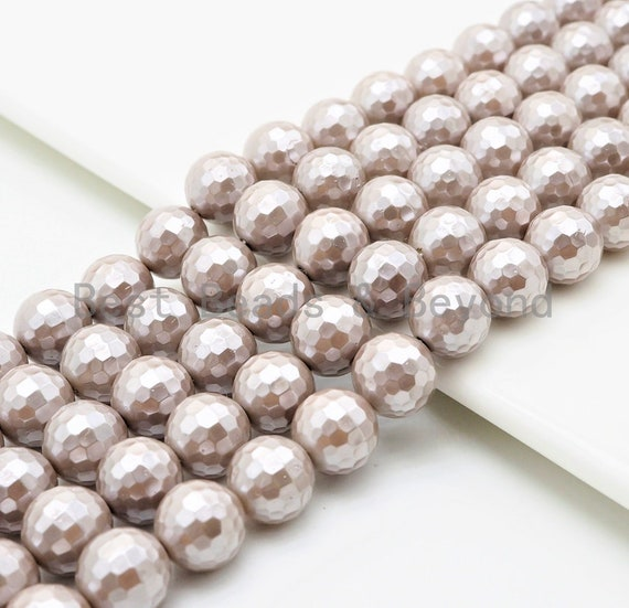 Wholesale Quality Natural Mother of Pearl Sliver Gray Round Facted beads, 6mm/8mm/10mm/12mm/14mm Gray MOP Beads, 15.5inch strand, SKU#T114