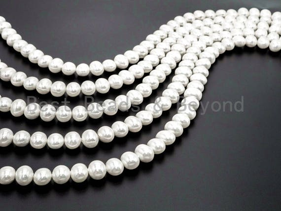 Quality Natural AB White Mother of Pearl beads, 13x15mm/16x19mm Potato Pearl beads, Loose MOP Pearl Beads,16inch strand, SKU#T56