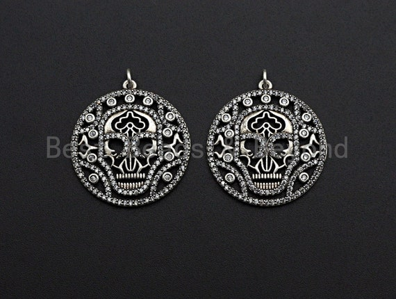 CZ Micro Pave Hollow Out Skull With Ring Pendant, Antique Silver Tone, Cubic Zirconia Pave Round Pendant, 29x32mm,sku#F1025