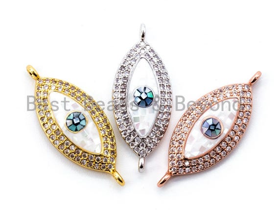 CZ Micro Pave Evil Eye Connector with Abalone Shell, Cubic Zirconia Space Connector, CZ Abalone Stone Charm 11x27mm, 1pc/2pcs,SKU#E296