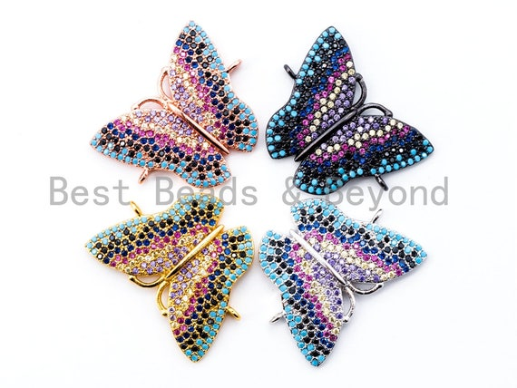 CZ Micro Pave Mixed Color Butterfly Connector 20x25mm, CZ Pave Charms, SKU#E288