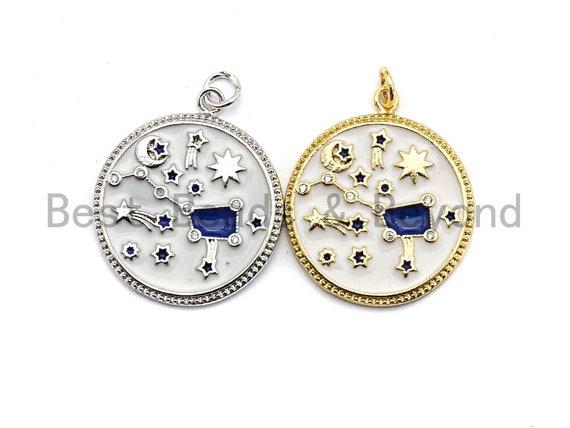 White Enamel Blue Big Dipper Moon Star Charms Pendant, Enamel Pendant,Round Enamel, Oil Drop jewelry Findings, 24x28mm,sku#Z366