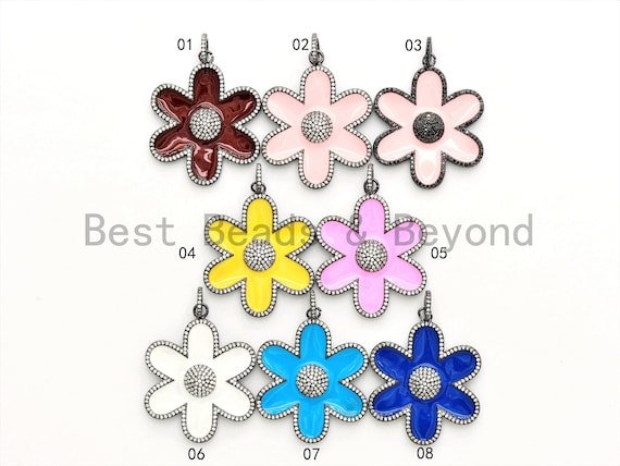 38mm LARGE NEW Enamel Colorful Flower Pendant,CZ Micro Pave Oil Drop Flower pendant,Enamel pendant,Enamel Jewelry,sku#F573