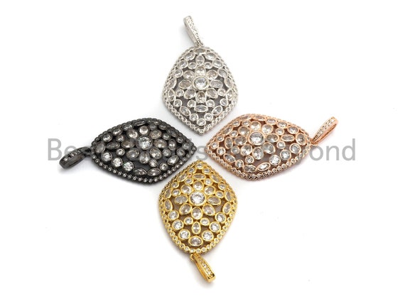 PRE-SELLING CZ Micro Pave Diamond Shape Pendant, Gold/Silver/Black/Rose Gold ,Cubic Zirconia Jewelry Findings, 27x40mm,sku#F643
