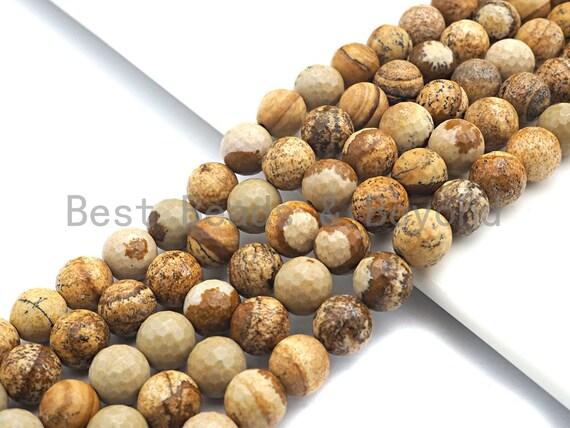 Quality Picture Jasper Beads, 8mm/10mm/12mm round faceted beads, Natural Jasper, sku#U525