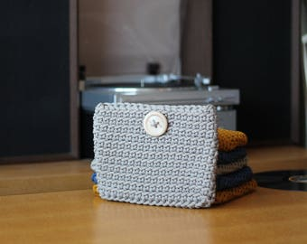 Small Beige Crocheted Cosmetic Bag