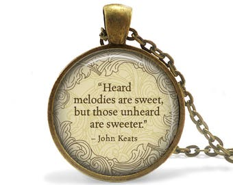 Poetry Necklace Friendship Gift John Keats Quote Necklace Literary Jewelry Keats Quote Keychain Literary Book Lover Gift Liberarian gift