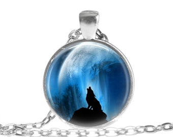 Wolf Necklace Howling Moon Wolf Animal Jewelry Wolf Gift Spirit Animal Gift for Wolf Lover Mystical Wolf Art Keychain Birthday Gift