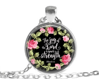 Bible Verse Necklace Nehemiah 8 10 Scripture necklace Christian Necklace Religious Jewelry Christian Scripture Gift Bible Verse Keychain