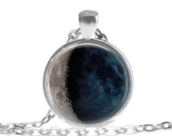 Moon Phase Necklace Moon Jewelry Moon Keychain Moon Phase Pendant Waning Crescent Necklace Crescent Moon Jewelry Moon Purse Charm Gift Boxed