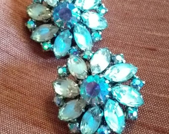 Something Old, Something Blue , Signed WEISS Aurora Borealis Clip On Earrings
