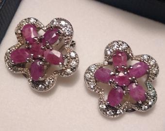 Sterling Silver Ruby and Diamanta Flower Earrings