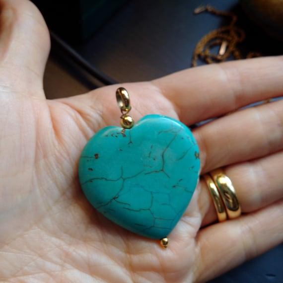 Natural Turquoise Heart Pendant. Turquoise Pendant