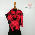 Lightweight Red and Black Plaid Flannel Blanket Scarf with Hand Fringed Edges