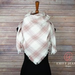 Plaid Blanket Scarf   Dusty Rose Pink and Cream White Plaid Flannel Scarf with Hand Fringed Edges