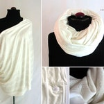 Luxe Ivory Premium Nursing Scarf with Metallic Silver Chevrons - All-in-One Infinity Scarf & Breastfeeding Cover from the Ivoire Collection