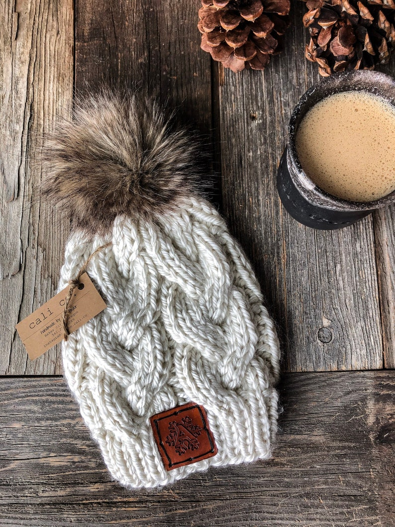 Knit Beanie Pattern / Monster Cables  Knitting Hat Handmade image 0