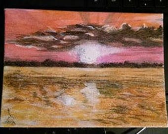 "OOAK ""End's Day"" Acrylic Painting ~ 5"" X 7"""