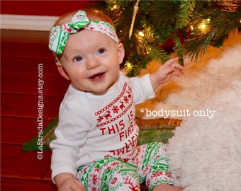 0480d49e428c Ugly Sweater Bodysuit/Baby's First Ugly Sweater/1st Christmas/Funny  Christmas Bodysuit/Baby Ugly Sweater/No headband or Leggings