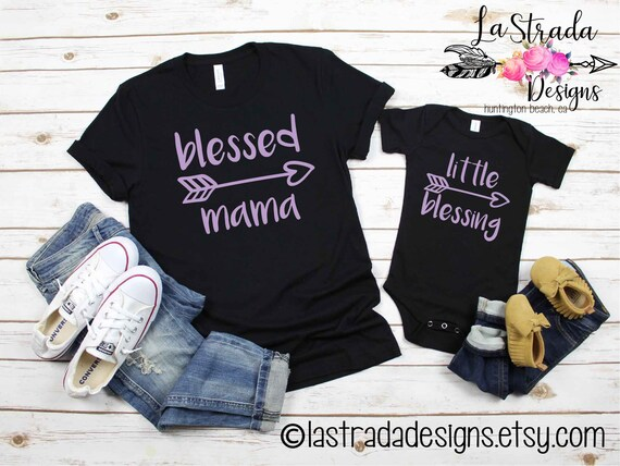 a8883cd3 Blessed Mama and Little Blessing Shirts Mommy and Me shirts | Etsy