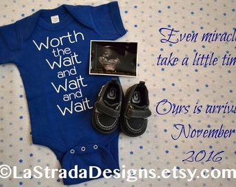 Worth the Wait and Wait and Wait. IVF Announcement. IVF Baby. Mirable Baby. Infertility. Answered Prayer. Pregnancy Announcement. Toddler T