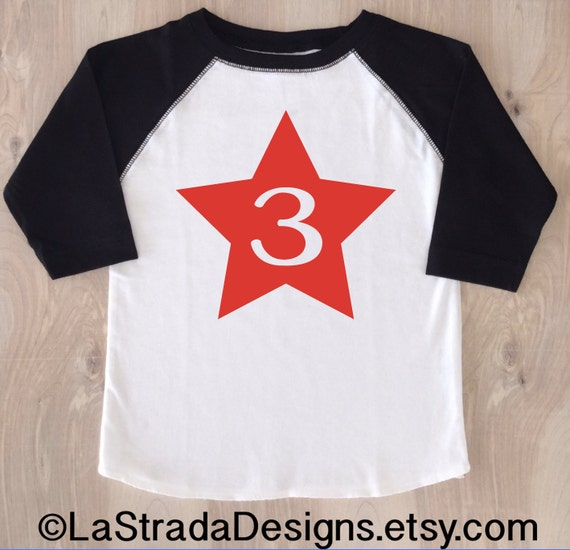 7606336ee5a Star Birthday Boy Shirt Baseball Birthday Shirt Third