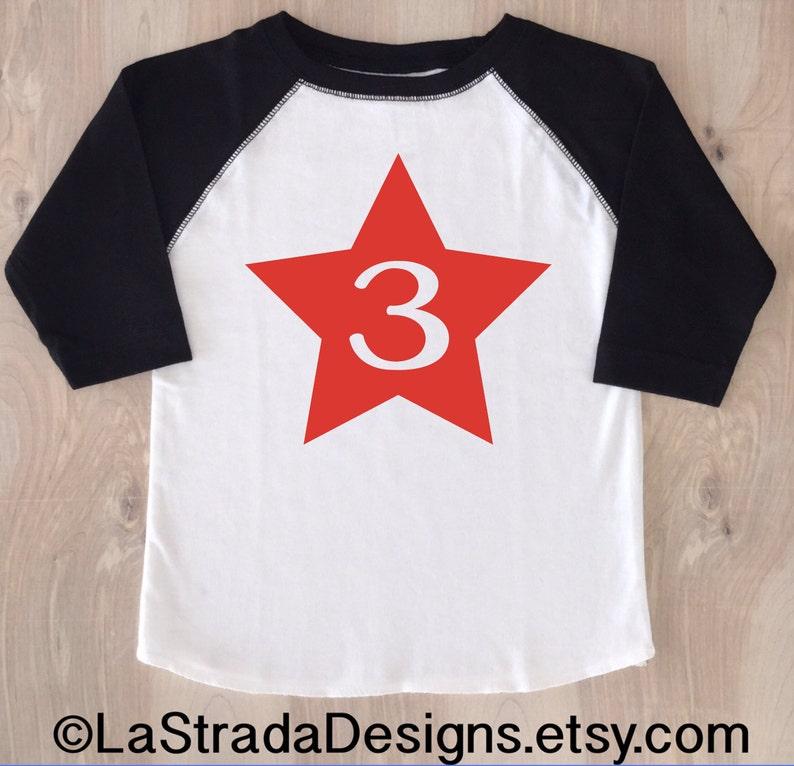 Star Birthday Boy Shirt Baseball Third