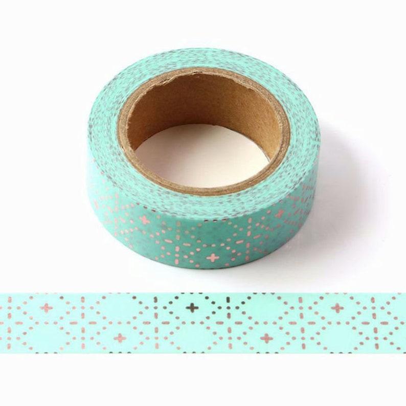 Teal and Rose Gold Pattern Washi Tape Masking Tape Planner Tape Aqua Pattern Washi Tape Craft Tape Journal Tape Geometric Washi Tape