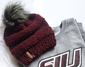 Faux Fur Burgundy Knit Winter Hat - Modern Chunky Knit Hat - Slouchy Knit Hat - Textured Winter Hat - Gift for Her - Gift for Teens
