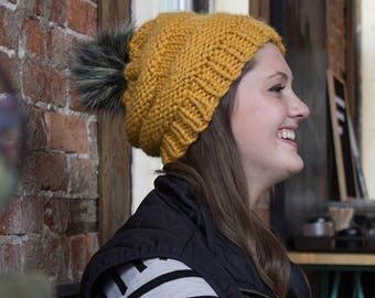 Faux Fur Mustard Knit Winter Hat - Modern Chunky Knit Hat - Slouchy Knit Hat - Textured Winter Hat - Gift for Her - Gift for Teens