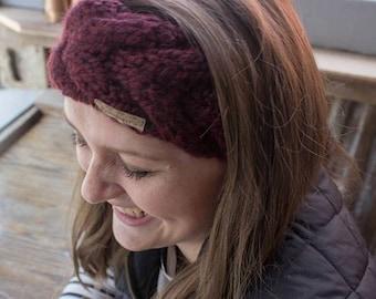 Wool Cable Knit Headband - Winter Ear Warmer - Gift for Her - Gift for Women - Double Cable Knit Headband - Winter Fashion - Crown Headband