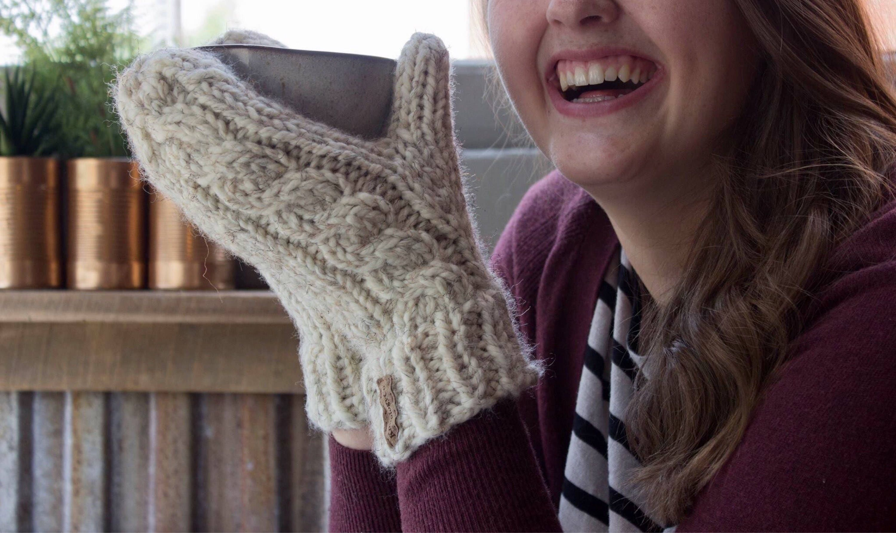 c3efddbfa8d0 Wool Cable Knit Mittens Cabled Mittens Gift for Her Gift