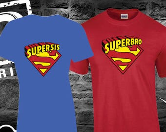 Girl Super Sister' Shirt with Name and Matching