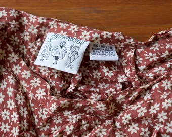 18ef183105 Vintage Anthropologie Skirt // Floral, Rayon – late 80's early 90's short  flare skirt – small 26
