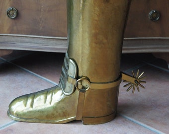 Vintage Brass Boot Umbrella Stand Wellington Boot with Spurs