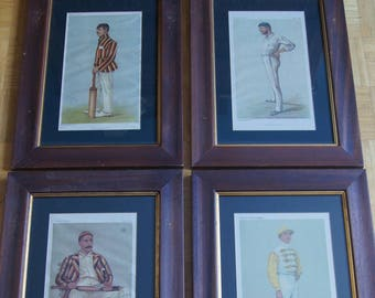 4 Vincent Brooks Day&Son Chromolithographs 1884 - 1892 Vanity Fair Cricket People in wooden frame