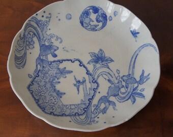 Antique Japanese Large Imari Plate Meiji Period Blue White