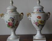 Pair Porcelaine German Vases with lids Amphora shape Handwork Lindner