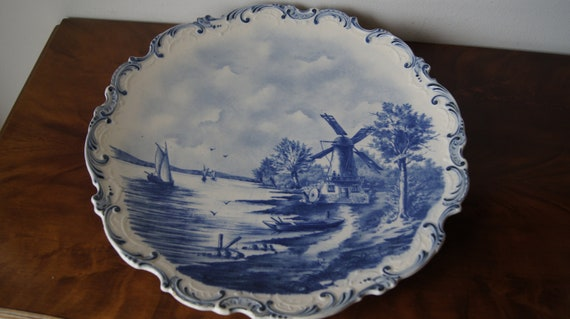 Antique Villeroy Boch Wall Plate 14 Blue White Etsy